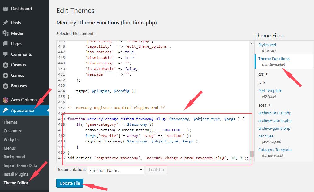 Step 1 - How to change a custom taxonomy slug in WordPress without a plugin