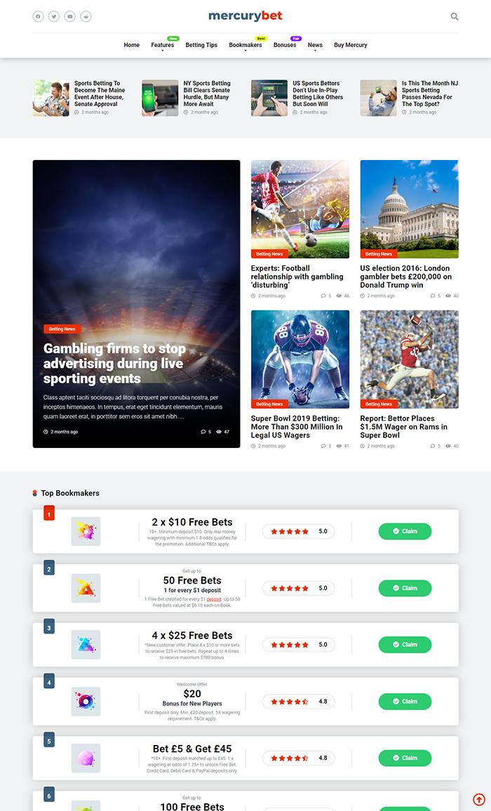 Sports Betting Affiliate WordPress Theme